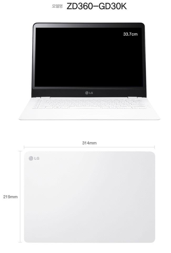 INNO LG XNOTE UltraBook ZD360-GD30K 3rd Gen.i3-3217U IPS(1920X1080) 4GB 120GB(SSD) OSDriver CD z360-size