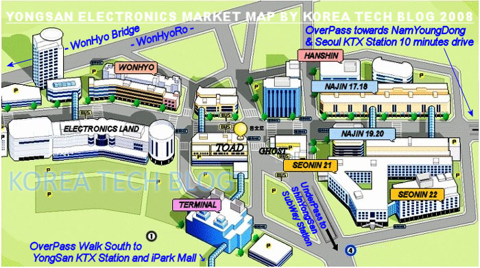 Seoul YongSan Electronics Market Map by Korea Tech BLog with PSPCali700